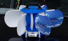 Wind powered device charger. Kohilo has a Kickstarter campaign to begin manufacturing these.