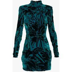 Balmain Devore velvet mini dress found on Polyvore featuring polyvore, women's fashion, clothing, dresses, balmain, vestidos, short blue dresses, velvet dress, blue long sleeve dress and long-sleeve velvet dresses