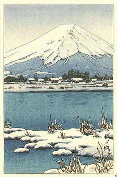 hanga gallery . . . torii gallery: Lake Kawaguchi in snow by Kawase Hasui