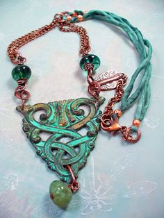 Verdigris Patina Floral Celtic Necklace  by RoEnchantedDesigns, $25.00