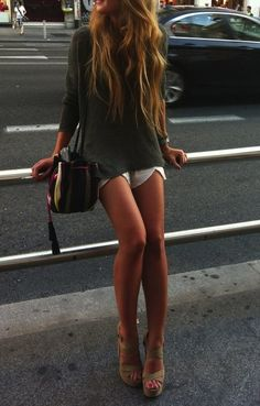 shoes,shorts,top..all perfect,, love the outfit, would wear a smaller heel