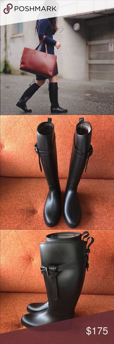 """NWOT Burberry // Roscot Waterproof Riding Boot Check-pattern fabric peeks out from the interior of a weather-ready rubber boot inspired by classic equestrian style.  16 1/2"""" shaft; 15 1/2"""" calf circumference  Pull in style with adjustable buckle Removable insole PVC upper with leather trim/textile lining/PVC sole New never worn, minor handling scuff noted in pic 8, otherwise new condition. No box. No trades. Burberry Shoes Winter & Rain Boots"""