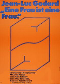 """Une femme est une femme [""""Eine Frau ist eine Frau""""] (Jean-Luc Godard, 1961; German poster), designed by Hans Hillmann, 1970"""