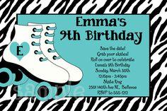 Roller Skating Birthday Invitation  Printable or von OneWhimsyChick