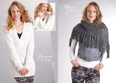 Pull col V Zermatt blanc femme par Lammy Yarns tricot