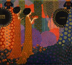 """The first part of panels for """"One Thousand and One Nights"""" series for the Hotel Terminus, by Vittorio Zecchin, 1914."""