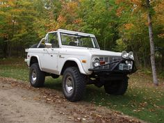 White Early Bronco in the early fall colors.  Ironic or not its freaking kewl!