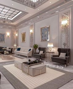 Luxury Living Room Designs - Aren Home Decor Ceiling Design Living Room, Home Design Living Room, Elegant Living Room, Luxury Homes Interior, Room Interior, Home Interior Design, House Rooms, Luxury Living, Home Decor