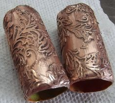 DEBORAHREAD.COM: Etching Copper Pipe. these would make nice texture rollers for polymer clay....