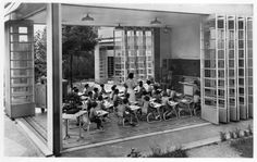 Open-air school in Suresnes France built by Eugène Beaudouin & Marcel Lods with Jean Prouve Marcel, Hospital Architecture, School Architecture, Suresnes France, Green School, School Opening, Outdoor School, Outdoor Learning, Forest School
