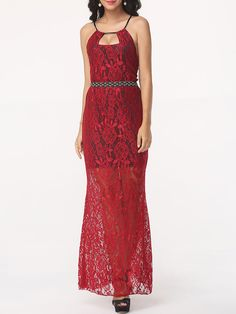 Halter Lace Hollow Out Plain Prom-dress #Dresses, #Fashion, #PromDresses, #Womens