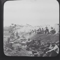 Magic Lantern Slide Vintage The Boers In Camp  South Africa Military History