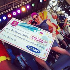Rockin the 10,000 check Old Navy donated to Big Brothers Big Sisters of Central California at Old Navy's Funnovationnation Party in Fresno, Ca
