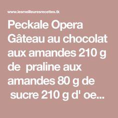 Peckale Opera Gâteau au chocolat aux amandes 210 g de praline aux amandes 80 g de sucre 210 g d' oeufs 15 g de poudre de cacao...