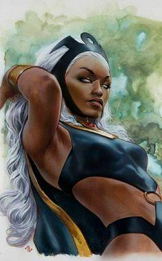 Black Women Art, Black Art, Black Girl Makeup Natural, Black Beauty, Storm Marvel, X Men Evolution, Old Man Logan, Vintage Black Glamour, African American Artist