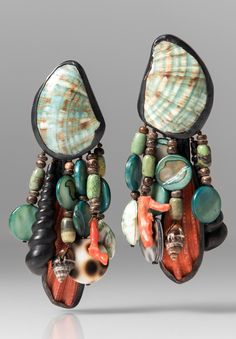 Monies UNIQUE Mixed Shells, Ebony, and Copper Earrings
