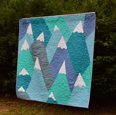 """""""Mountains Quilt"""" by Jenna Brand, based (with permission) on a design by Ross Zietz Click here to read more: http://howtobejenna.com/2013/08/20/mountains-quilt/"""