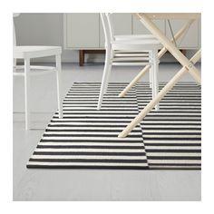 STOCKHOLM Rug, flatwoven, black stripe handmade, stripe off-white black/off-white handmade/stripe black/off-white 5 ' 7