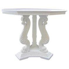 Antique Octagonal Baroque Claw Foot Pedestal Table