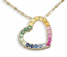 Multi Color Sapphire Heart Pendant in 14k Gold   ooohhhh....love