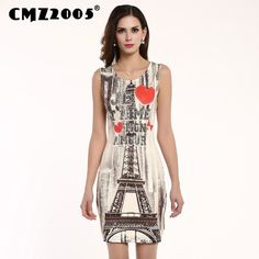 Dmart7deal;Printing Sleeveless Round Neck Mini Fashion Summer Dress Personality