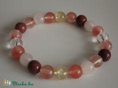 """""""Smile"""" vidámsághozó karkötő, rózsakvarc, cseresznyekvarc, mokait, ásvány, gyöngy, ajándék, nőnek (agnesasvanyaruhaza) - Meska.hu"""
