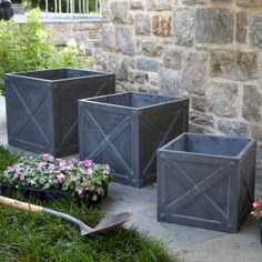 Set of Three Outdoor Garden X Boxes in Faux Lead from The Well Appointed House Outdoor Planters, Garden Planters, Outdoor Gardens, Outdoor Decor, Outdoor Ideas, Outdoor Spaces, Porch Urns, Front Porch, Garden Boxes