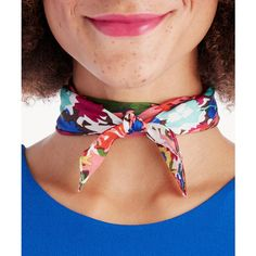 Sole Society Floral Print Silk Neckerchief ($35) ❤ liked on Polyvore featuring accessories, scarves, multi, silk shawl, bright shawl, floral print scarves, tying silk scarves and floral shawl