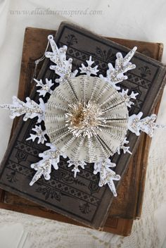 Vintage Snowflake Handmade Christmas Ornament Craft DIY Book pages