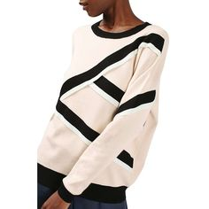Women's Topshop Strap Detail Sweater (1,635 MXN) ❤ liked on Polyvore featuring tops, sweaters, ivory multi, spaghetti-strap top, stripe top, winter white sweater, snug top and drop shoulder tops
