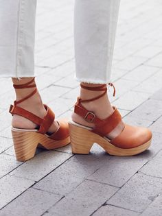 Belmont Leather Clog | Strappy suede and leather clog. Wooden platform and heel with rubber outer sole. Adjustable buckle strap at back of heel. Also ties around the ankle.