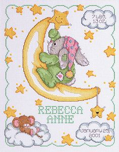 Janlynn Corporation Crescent Moon Birth Announcement Cross Stitch Kit - Kit contains chart and instructions, needle, 14 count White Aida fabric and stranded cotton threads. Baby Cross Stitch Patterns, Cross Stitch Baby, Counted Cross Stitch Kits, Cross Stitch Charts, Cross Stitch Designs, Cross Stitching, Cross Stitch Embroidery, Embroidery Patterns, Hand Embroidery