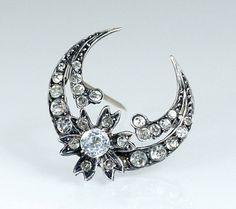 Antique Victorian Silver Crescent Brooch