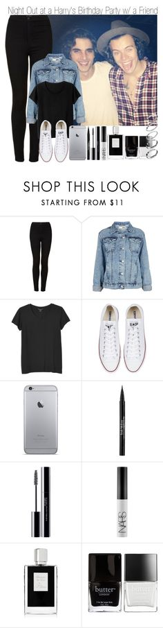 """Night Out at Harry's Birthday Party with a Friend"" by elise-22 ❤ liked on Polyvore featuring Topshop, Monki, Converse, Trish McEvoy, shu uemura, NARS Cosmetics, Kilian, Butter London and ASOS"