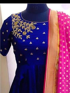 Beautiful royal blue color floor length anarkali dress with pink color dupatta. ananrkali dress with floret lata design hand embroidery gold thread work. Kalamkari Dresses, Ikkat Dresses, Blouse Neck Designs, Dress Designs, Bollywood Outfits, Indian Gowns Dresses, Kurti Designs Party Wear, Anarkali Dress, Indian Designer Wear