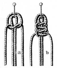 FIG. 522. & FIG. 523. KNOTTING ON THREADS WITH PICOT AND TWO FLAT DOUBLE KNOTS.