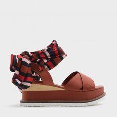 Brick Scarf Wrap Ankle Strap Flatforms |CHARLES & KEITH