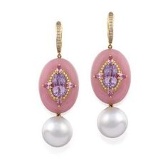 Pair of 18ct rose gold, south… - Important Jewels - Sotheby's - Antiques Reporter Ear Earrings, Pendant Earrings, Pink Opal, Pink Sapphire, South Sea Pearls, Cultured Pearls, Diamond Cuts, Lavender, Amethyst