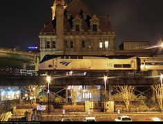 Just 2 station stops from his final destination of Newport News, Virginia, Amtrak regional train P083-13 is seen stopped in Richmond Main Street Station with locomotive 115 in the lead on a cool March evening.