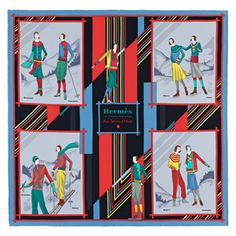 """""""Aux Sports d'Hiver"""", 70x70 cm scarf in vintage silk. Design: Archives Hermès. Play with your Hermès scarf with the Silk Knots app! hermes.com/silkknots   #Hermes #Silk #SilkKnots"""