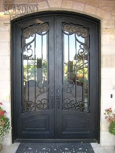 Custom Double Elliptical Top Wrought Iron French Parisian Doors European Collection French Paris Doors with Segmented Arch Top