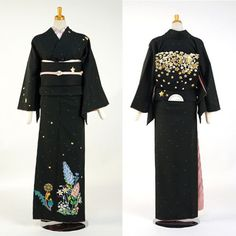 kimononagoya:  Mod 2: True story, I saw this Obi in Nagoya Station's Takashimaya department store on my last trip to Japan. I still regret not buying it. (It was styled with a Christmas/snow theme at the time)This kimono by Tsumori Chisato (sigh. of course.) is wildflowers with a night sky, which makes the star obi extremely clever and complimentary.