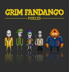 Grim Fandango - pixeled by *rmda on deviantART