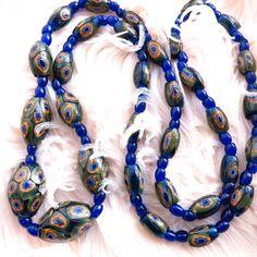 Vintage Art Deco Venetian Murano Matched Millefiori Glass Bead Necklace