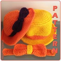FREE High Tea Floppy Hat & Top Hat with Bow Tie Crochet Pattern (Toddler Size Only)