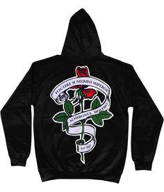 Unisex Hoodie Two Sided Print Rose Slogan - Black / S