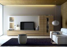 Muebles de Salón tipo mural en blanco y muebles en madera clara