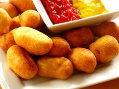Homemade Corn Dog Bites... okay I admit that this recipe is for me... I have always liked corn dogs : )