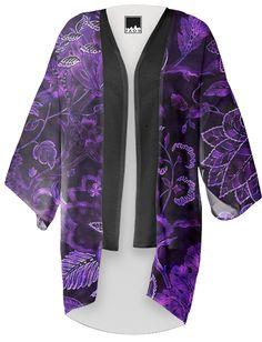 Purple Vintage Floral Shimmer Kimono