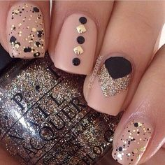 Light pink black silver nails, definitely want to try out this design, just need the right polish colors!